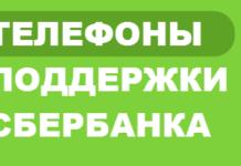Номера поддержки Сбербанка