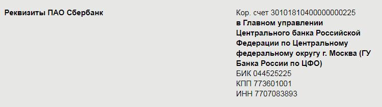 Реквизиты Сбербанка
